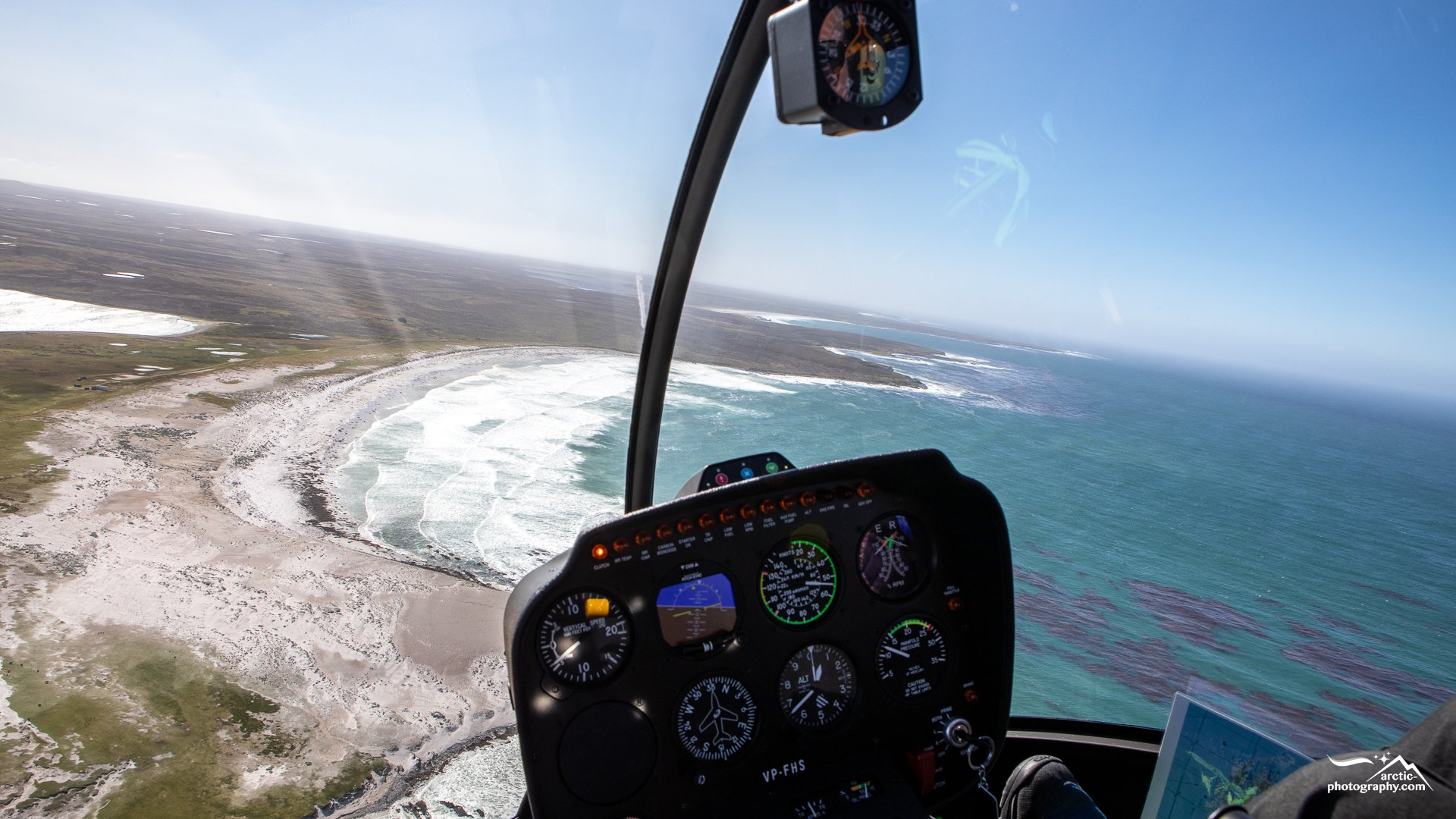 Helicopter flight to Volunteer point, Stanley I Falkland Islands