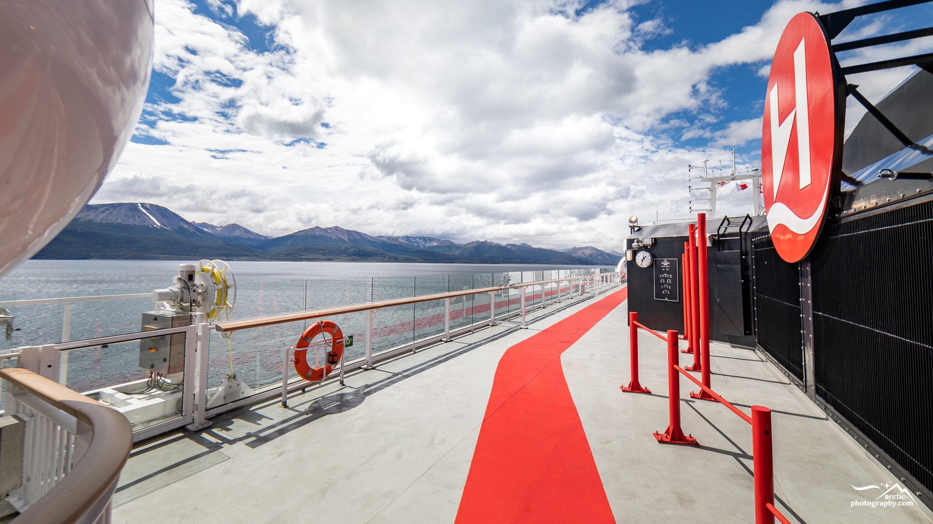 "Top deck of ""MS Roald Amundsen"" at Beagle Canal I Chile"
