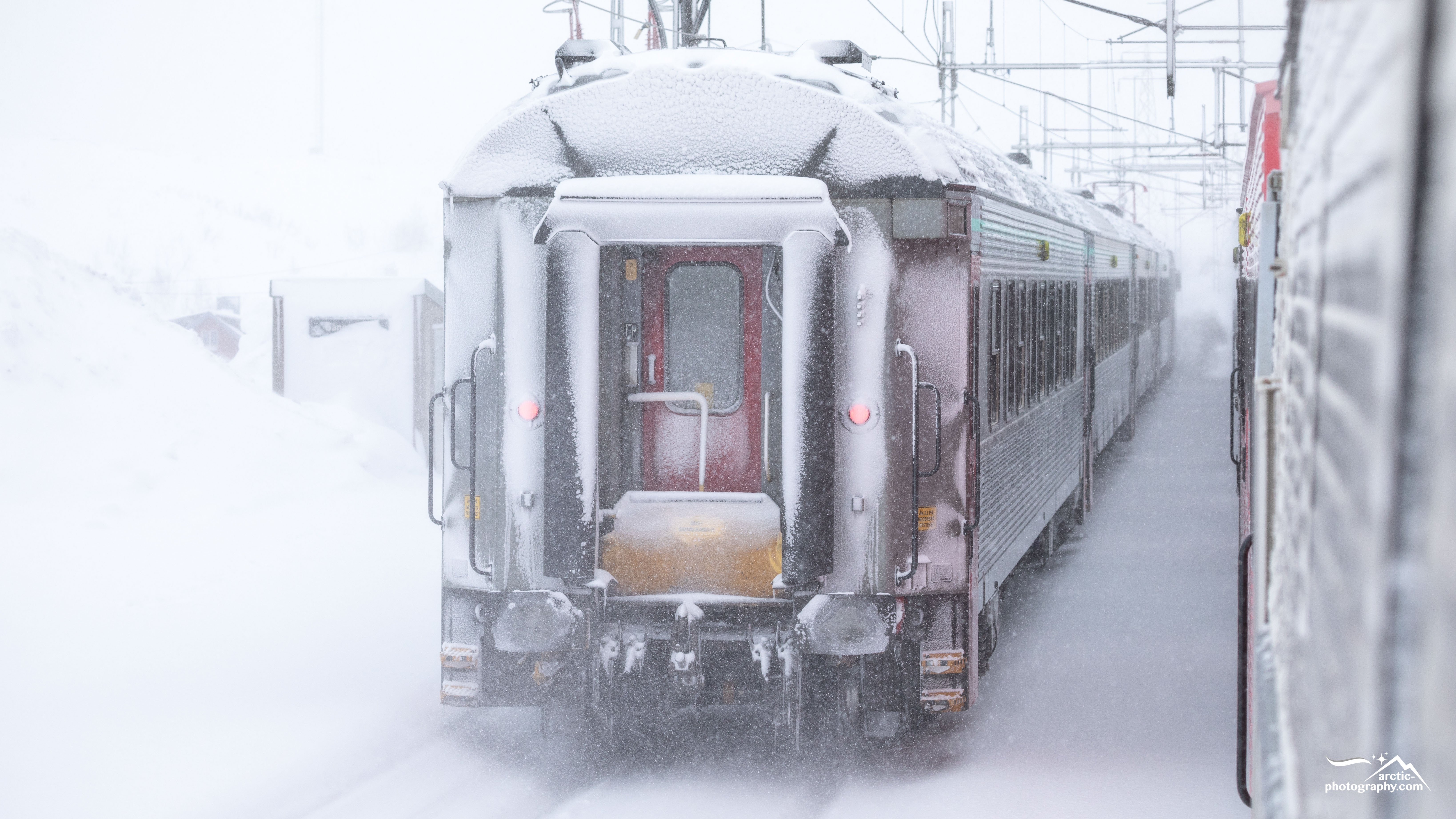 Arctic Circle Train / SJ Intercity covered in snow, Sweden