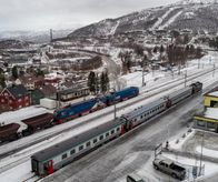 Arctic Circle Train / SJ Intercity and iron train in Narvik, Norway